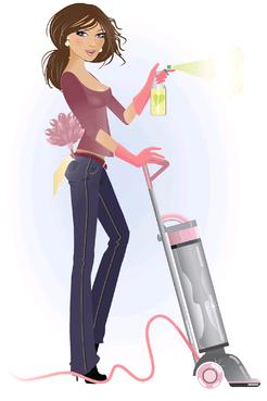 掃除する女性の絵