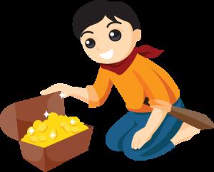 宝箱を開ける少年