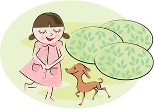 犬を連れた女性