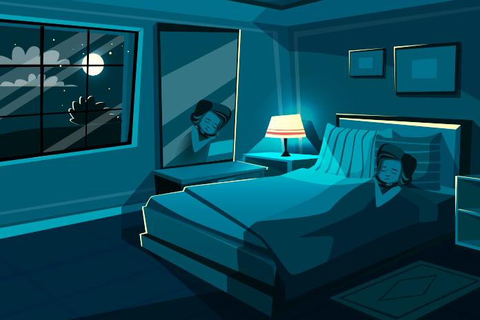 寝姿を映す鏡